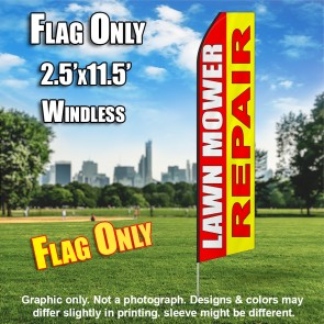 LAWN MOWER REPAIR red yellow flutter flag