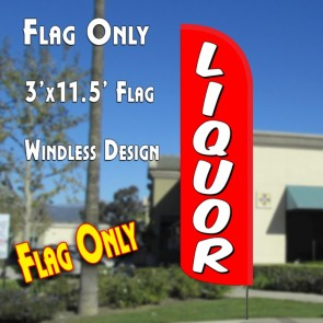 LIQUOR (Red/White) Windless Polyknit Feather Flag (3 x 11.5 feet)