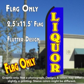 LIQUOR (Blue/Yellow) Flutter Polyknit Feather Flag (11.5 x 2.5 feet)