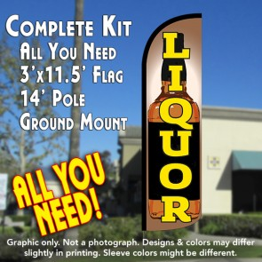 Liquor (Bottle) Windless Feather Banner Flag Kit (Flag, Pole, & Ground Mt)