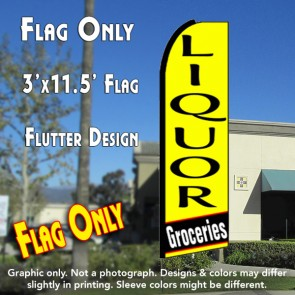 LIQUOR GROCERIES (Yellow) Flutter Feather Banner Flag (11.5 x 3 Feet)