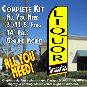 LIQUOR GROCERIES (Yellow) Flutter Feather Banner Flag Kit (Flag, Pole, & Ground Mt)