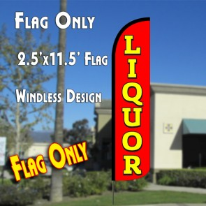 LIQUOR (Red/Yellow) Windless Polyknit Feather Flag (2.5 x 11.5 feet)