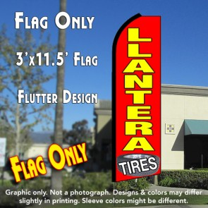 LLANTERA Tires (Red) Flutter Feather Banner Flag (11.5 x 3 Feet)