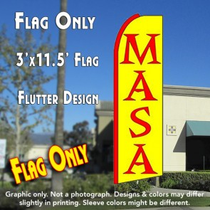 MASA (Yellow) Flutter Feather Banner Flag (11.5 x 3 Feet)