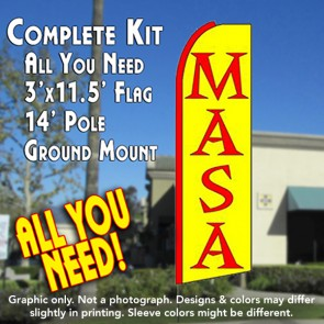 MASA (Yellow) Flutter Feather Banner Flag Kit (Flag, Pole, & Ground Mt)