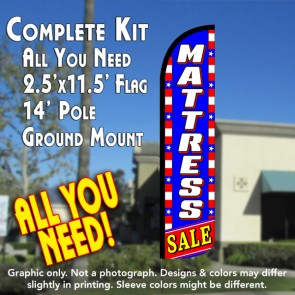 MATTRESS SALE (Blue/White/Stars) Windless Feather Banner Flag Kit (Flag, Pole, & Ground Mt)