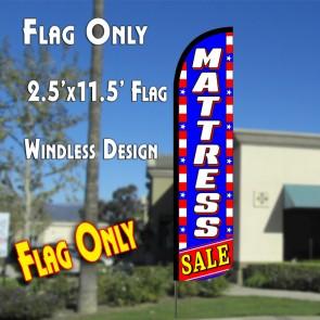 MATTRESS SALE (Blue/White/Stars) Windless Polyknit Feather Flag (2.5 x 11.5 feet)