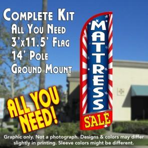 Mattress Sale (Starburst) Windless Feather Banner Flag Kit (Flag, Pole, & Ground Mt)