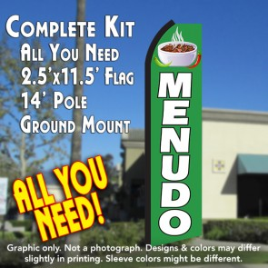 MENUDO (Green/White) Flutter Feather Banner Flag Kit (Flag, Pole, & Ground Mt)