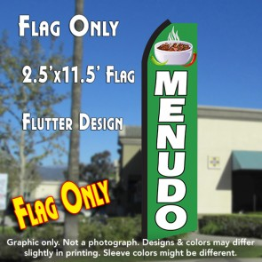 MENUDO (Green/White) Flutter Polyknit Feather Flag (11.5 x 2.5 feet)