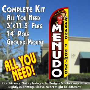 Menudo Sabado y Domingo Windless Feather Banner Flag Kit (Flag, Pole, & Ground Mt)