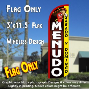 Menudo Sabado y Domingo Windless Polyknit Feather Flag (3 x 11.5 feet)