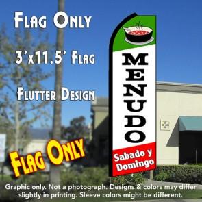 MENUDO Sabado y Domingo (Green/White/Red)Flutter Feather Banner Flag (11.5 x 3 Feet)