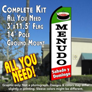 MENUDO Sabado y Domingo (Green/White/Red) Flutter Feather Banner Flag Kit (Flag, Pole, & Ground Mt)