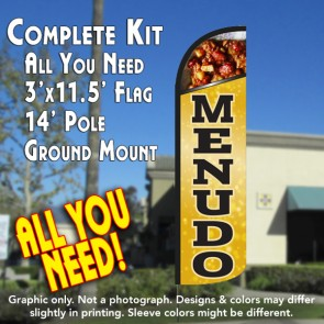 MENUDO Windless Feather Banner Flag Kit (Flag, Pole, & Ground Mt)