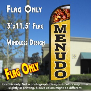 MENUDO Windless Polyknit Feather Flag (2.5 x 11.5 feet)