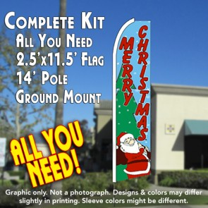 MERRY CHRISTMAS (Santa) Flutter Feather Banner Flag Kit (Flag, Pole, & Ground Mt)