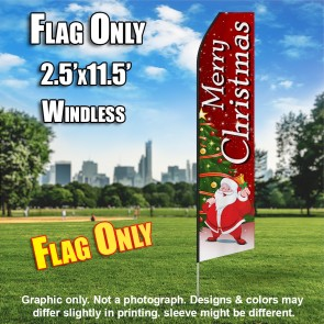 Merry Christmas Santa Claus Feather Banner Flag