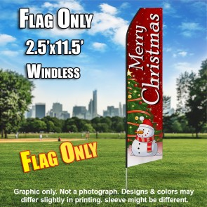 Merry Christmas Snow men Feather Banner Flag