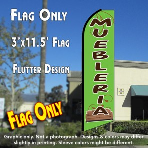 MUEBLERIA (Green) Flutter Feather Banner Flag (11.5 x 3 Feet)