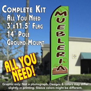 MUEBLERIA (Green) Flutter Feather Banner Flag Kit (Flag, Pole, & Ground Mt)
