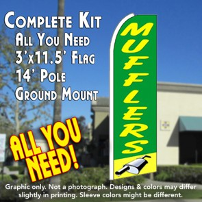 MUFFLERS (Green/Yellow) Flutter Feather Banner Flag Kit (Flag, Pole, & Ground Mt)