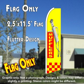 MUFFLERS (Yellow/Checkered) Flutter Feather Banner Flag (11.5 x 2.5 Feet)