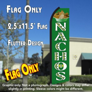 NACHOS (Green/White) Flutter Polyknit Feather Flag (11.5 x 2.5 feet)