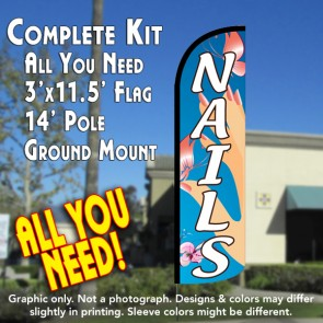 Nails (Blue) Windless Feather Banner Flag Kit (Flag, Pole, & Ground Mt)