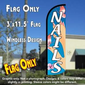 Nails (Blue) Windless Polyknit Feather Flag (3 x 11.5 feet)