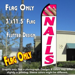 NAILS (White/Pink) Flutter Feather Banner Flag (11.5 x 3 Feet)