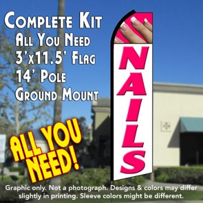 NAILS (White/Pink) Flutter Feather Banner Flag Kit (Flag, Pole, & Ground Mt)