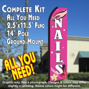 NAILS (Pink/White) Flutter Feather Banner Flag Kit (Flag, Pole, & Ground Mt)