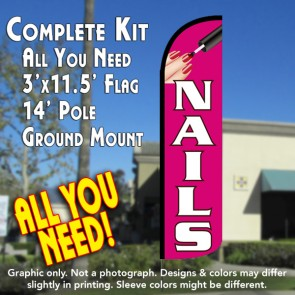 Nails (Pink/White) Windless Feather Banner Flag Kit (Flag, Pole, & Ground Mt)
