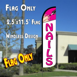 NAILS (Pink/White) Windless Polyknit Feather Flag (2.5 x 11.5 feet)