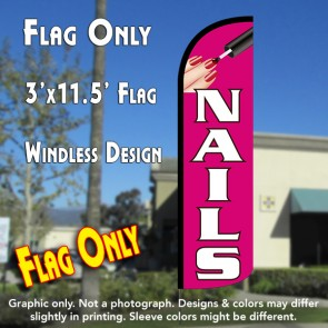 Nails (Pink/White) Windless Polyknit Feather Flag (3 x 11.5 feet)