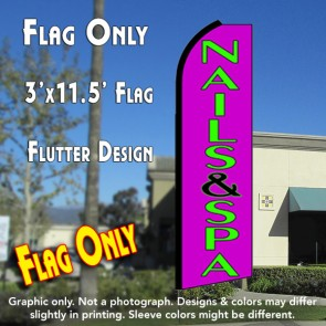 NAILS & SPA (Purple) Flutter Feather Banner Flag (11.5 x 3 Feet)