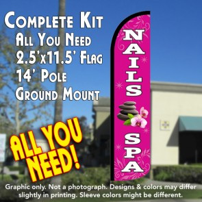NAILS SPA Windless Feather Banner Flag Kit (Flag, Pole, & Ground Mt)