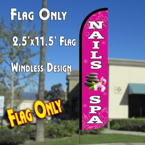 NAILS SPA Windless Polyknit Feather Flag (2.5 x 11.5 feet)