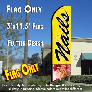 NAILS (Yellow) Flutter Feather Banner Flag (11.5 x 3 Feet)