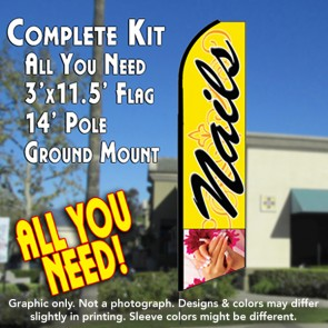 NAILS (Yellow) Flutter Feather Banner Flag Kit (Flag, Pole, & Ground Mt)