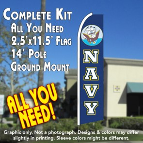 NAVY Flutter Feather Banner Flag Kit (Flag, Pole, & Ground Mt)