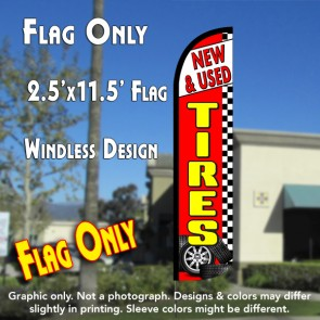 NEW & USED TIRES (Checkered) Flutter Feather Banner Flag (11.5 x 3 Feet)