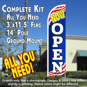Now Open (Patriotic) Windless Feather Banner Flag Kit (Flag, Pole, & Ground Mt)