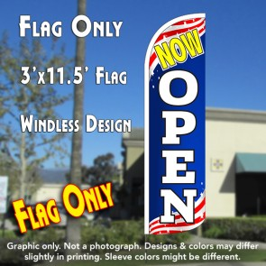 Now Open (Patriotic) Windless Polyknit Feather Flag (3 x 11.5 feet)