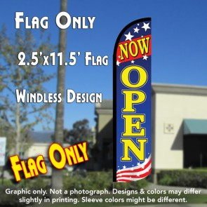 now open windless polyknit feather flags