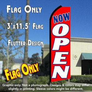 NOW OPEN (Red/White) Flutter Feather Banner Flag (11.5 x 3 Feet)
