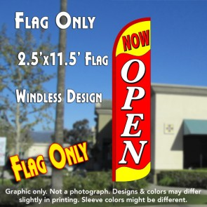 NOW OPEN (Yellow/Red) Windless Polyknit Feather Flag (2.5 x 11.5 feet)