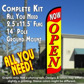 NOW OPEN (Yellow/Red) Windless Feather Banner Flag Kit (Flag, Pole, & Ground Mt)